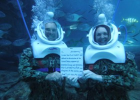 Discovery Cove celebrates the 244th Birthday of the US Navy with Underwater Reenlistment Ceremony